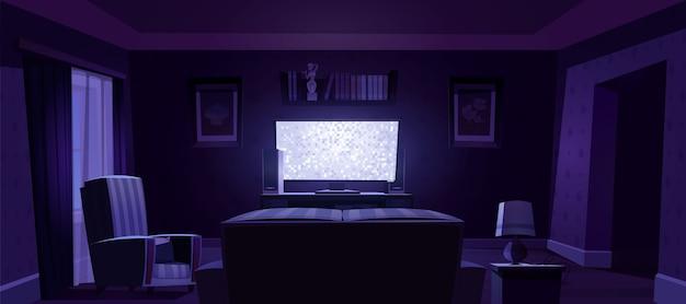 Интерьер гостиной с видом сзади на диван