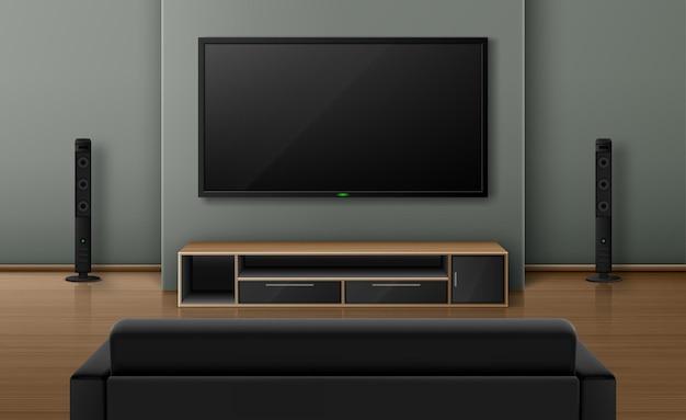 Интерьер гостиной с видом сзади диван и телевизор с динамикой.