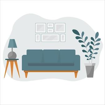 ソファ、観葉植物、家の装飾が施されたリビングルームのインテリア。モダンなアパートメントはスカンジナビアスタイルで装飾されています。フラット漫画イラスト。