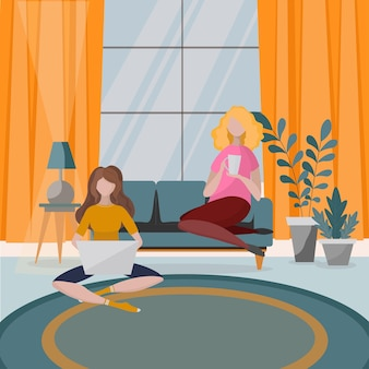 소파, 실내 화분 용 화초 및 가정 장식이있는 거실 인테리어. 현대적인 아파트는 스칸디나비아 스타일로 꾸며져 있습니다. 앉아, 일하고 차를 마시는 두 여자. 플랫 만화 그림입니다.