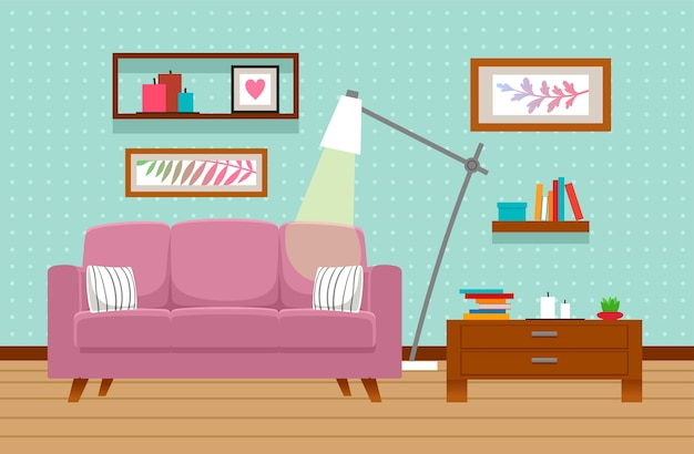 Living room interior with sofa, table, lamp.