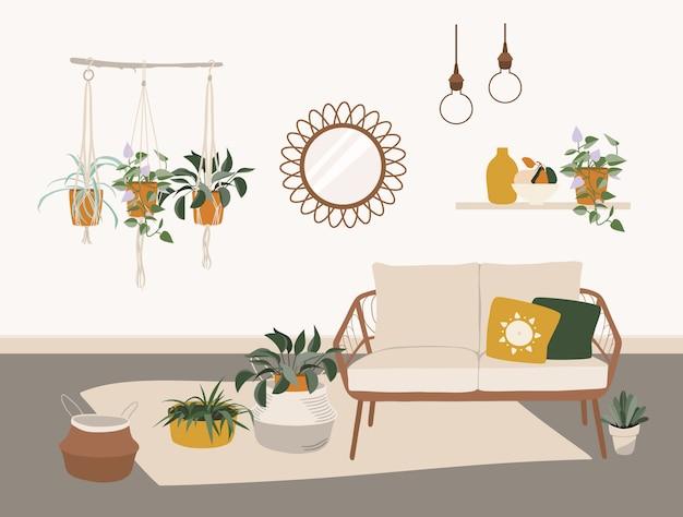 Living room interior with stylish boho furniture.