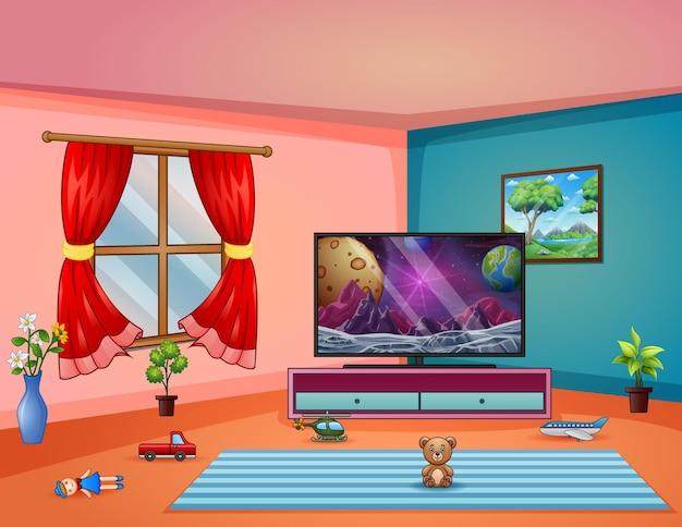 Интерьер гостиной с телевизором и детскими игрушками на ковре