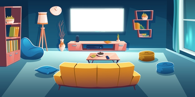 夜のテレビとソファの背面図とリビングルームのインテリア。作業用テレビのソファの前面が壁にセットされた暗いアパート、豆袋の椅子、漫画イラストの空の家のデザイン