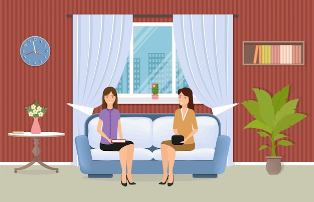 ソファに座っている2人の女性とリビングルームのインテリア。家具、窓、観葉植物のある国内の部屋。