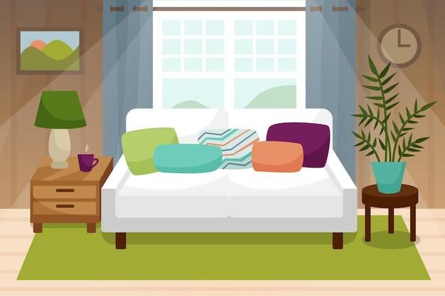 베개가 있는 창 소파가 있는 거실 인테리어 램프가 있는 집 꽃 침대 옆 탁자