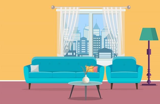 Интерьер гостиной с окном