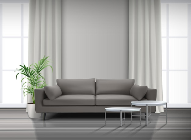 Интерьер гостиной с окнами шторы диван с журнальными столиками