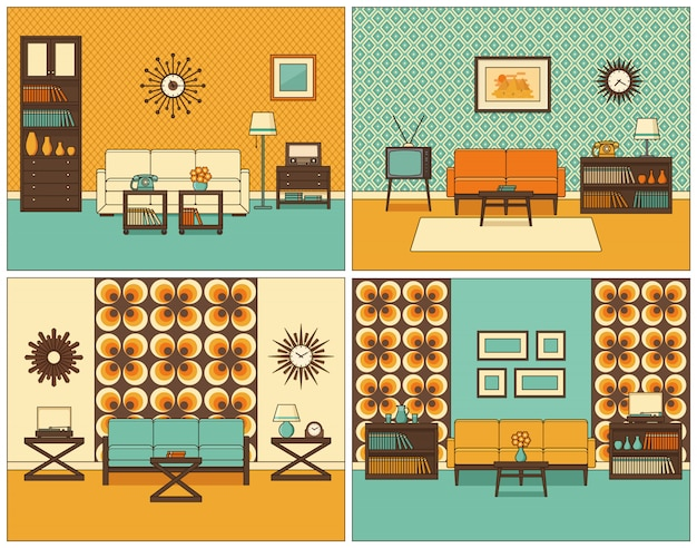 Интерьеры гостиной. ретро линейная иллюстрация.
