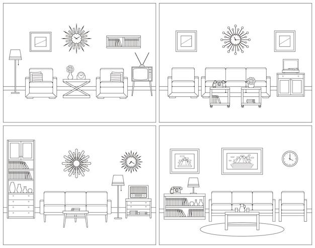 リビングルームのインテリア。レトロな線形ベクトル図。