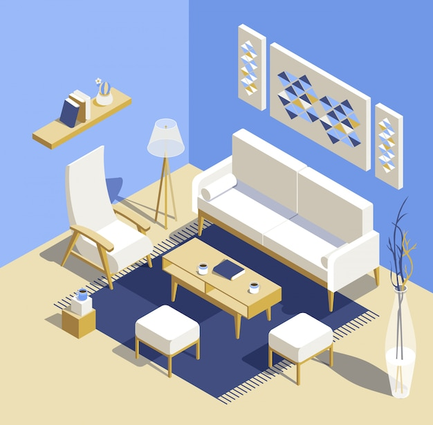 Living room isomertic detailed set graphic illustration in scandinavian style. 3d residential room project.