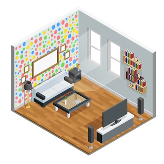 Living room isometric design