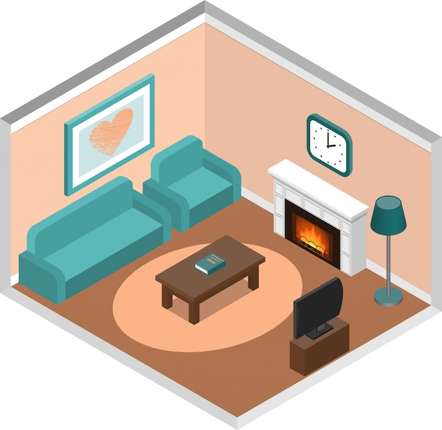 Living room isometric interior with fireplace and couch.