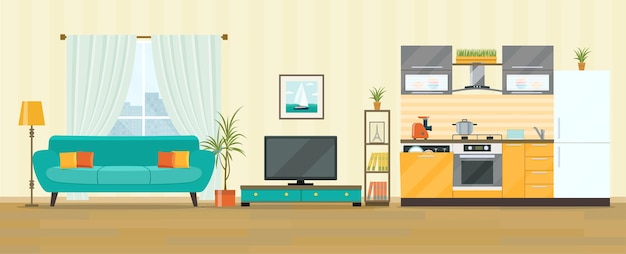 Living room and kitchen interior design with tv flat style vector illustration
