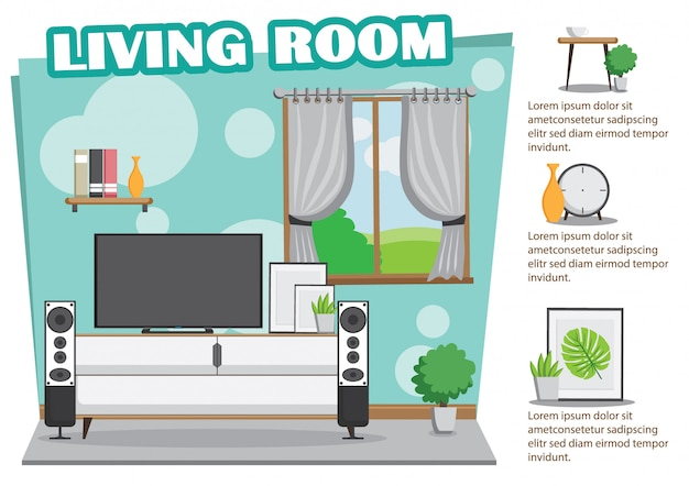 Living room mint design with tv and decoration