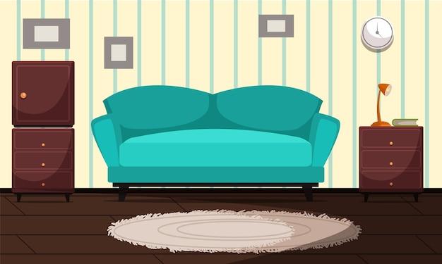 Современный интерьер гостиной лазурный уютный диван с подушками комнатное растение в горшке