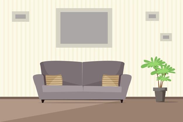 Современный интерьер гостиной, серый уютный диван с подушками и комнатное растение в горшке.