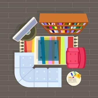 Living room planning illustration grey