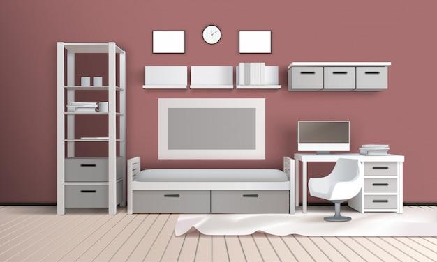 Living room realistic interior
