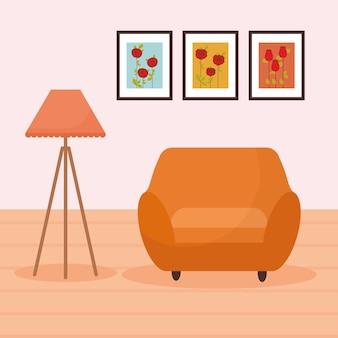 家具、ランプ、その後ろに3枚の写真が描かれたリビングルーム