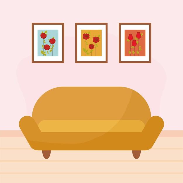 家具とその後ろに3枚の絵が描かれたリビングルーム
