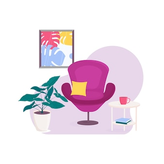 Living room with armchair and table. flowerpot with leafed plants. picture with a monstera. books. a cup of coffee.