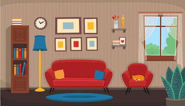 의자, 소파, 창문, 책장이있는 거실. 만화 스타일의 평면 сozy 인테리어.