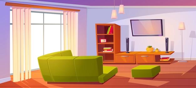 Гостиная с угловым диваном, большим окном и телевизором.