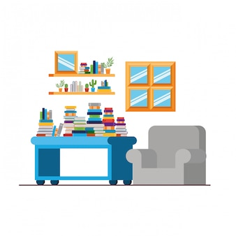 Living room with couch and stack of books