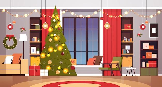 装飾されたモミの木と新年のクリスマス休暇のお祝いのコンセプトホームインテリア水平ベクトルイラストの花輪とリビングルーム
