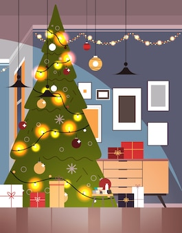 装飾されたモミの木と新年のクリスマスの休日のお祝いのコンセプトの家のインテリア垂直ベクトルイラストの花輪とリビングルーム
