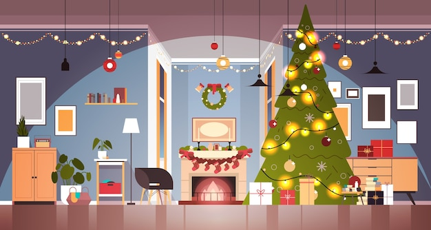 Living room with decorated fir tree and garlands for new year christmas holidays celebration concept home interior horizontal vector illustration