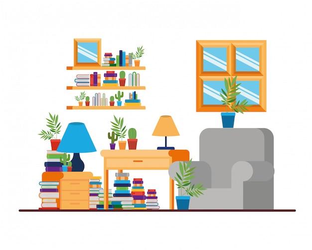 Гостиная с письменным столом и книгами