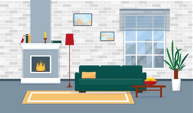 Гостиная с камином в современном стиле. квартиры с окном и мебелью. интерьерная иллюстрация.