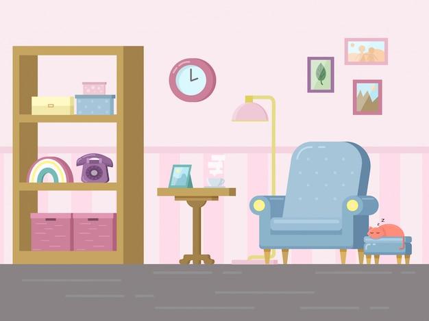 Гостиная с мебелью и спящим котом
