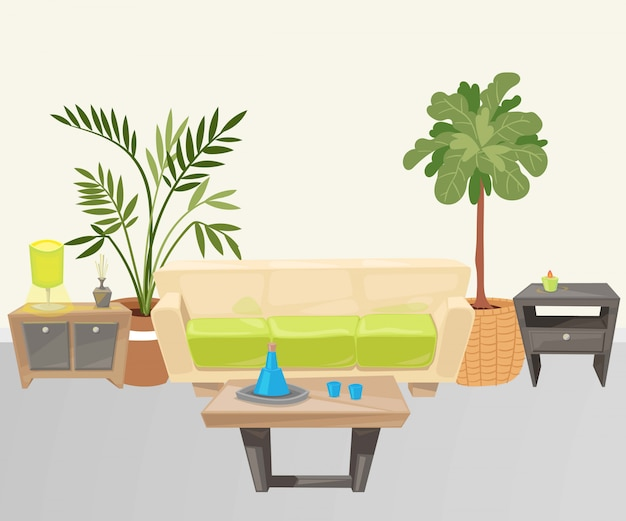 Living room with furniture cartoon illustration.