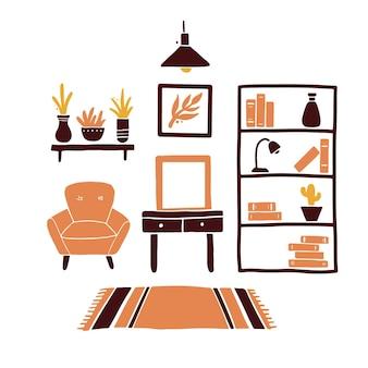 가구, 의자, 집 식물, 램프, 선반, 카펫이있는 거실. 간단한 유행 플랫 스타일.