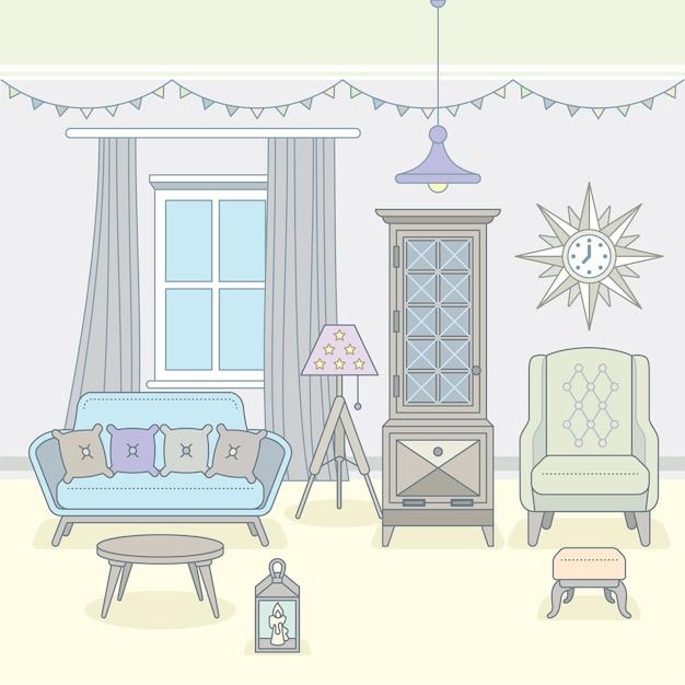 家具付きのリビングルーム。居心地の良いインテリア。図。