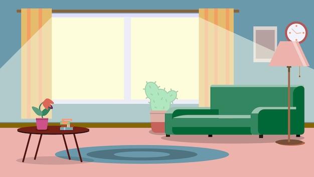 가구가있는 거실. 거실에 소파가있는 아늑한 인테리어. 평면 스타일 일러스트