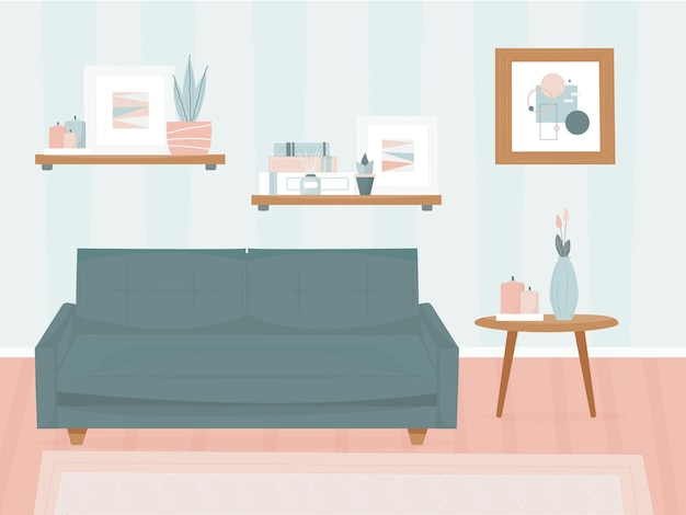 Living room with furniture. modern minimalistic interior. stylish design. sofa and decor items, paintings on walls. vector illustration, flat