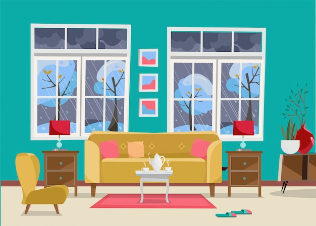 Living room with furniture - sofa with table, nightstand, paintings, lamps, vase, carpet, porcelain set, soft chair in room with two large window
