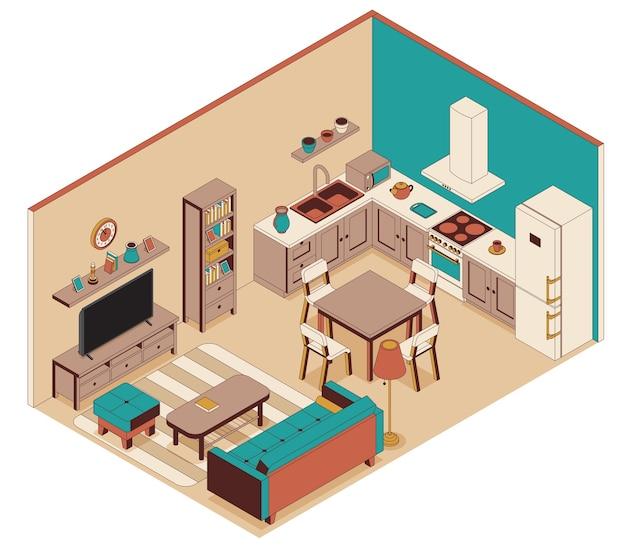 アイソメトリックスタイルのキッチン付きのリビングルーム。ソファ、家具、テレビ