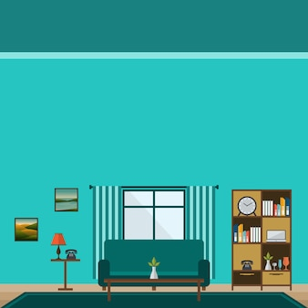 Living room with long sofa and table flat design