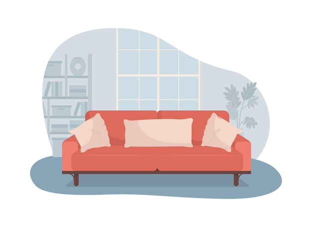 Living room with red sofa 2d isolated illustration. comfortable couch for relaxation.