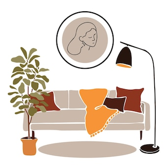 Living room with round abstract portraitmodern boho interior with abstract elements in  cut out