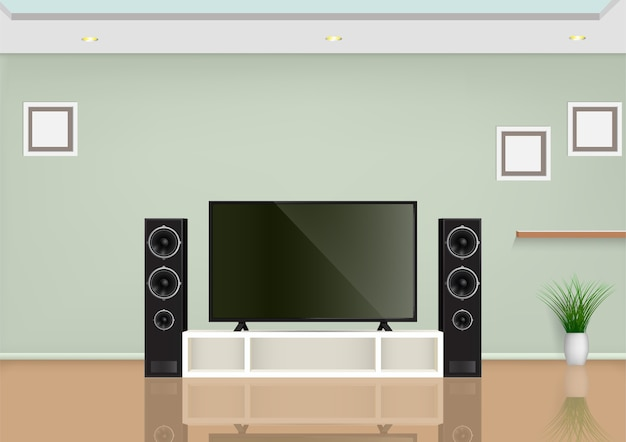 Living room with smart tv on the table and speaker audio.  illustration.