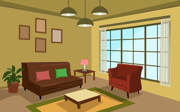 ソファと枕のあるリビングルーム