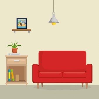 Living room with sofa and books