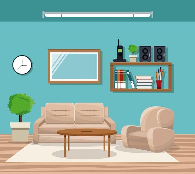 Гостиная с диваном стул горшок дерево телефон книжная полка зеркальный стол