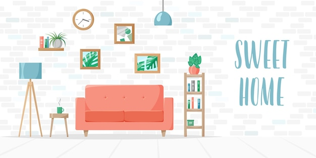 소파 램프가 있는 거실 집 식물 책 선반 벽돌 벽 스위트 홈 레터링 벡터